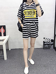 Sign Korean fashion striped suit jacket female hedging hooded two-piece shorts + Leisure 3061