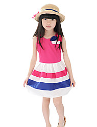 Girl's Casual/Daily Striped DressCotton Summer Red / Yellow