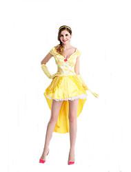 Fantasias de Cosplay Princesa / Rainha / Conto de Fadas Cosplay de Filmes Amarelo Cor Única Vestido / Luvas / Decoração de CabeloDia Das