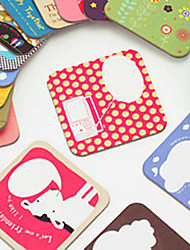 Cute Cartoon Coasters Heat Proof Cardboard Square Lovely For Girls (Random Colours)