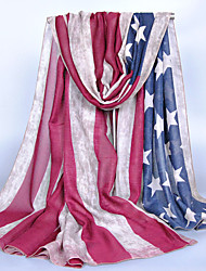 Women Cotton Blend Scarf,Vintage / Cute / Party / Work / Casual Rectangle,Gray / Khaki,Print