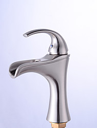 Antique Centerset Waterfall with  Ceramic Valve Single Handle One Hole for  Nickel Brushed , Bathroom Sink Faucet