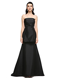 A-Line Strapless Sweep / Brush Train Taffeta Formal Evening Dress with Draping