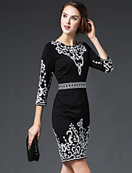 GATHER BEAUTYWomen's Going out Simple Sheath DressEmbroidered Round Neck Above Knee  Sleeve Black Cotton / Polyester Fall High Rise Inelastic Medium