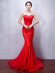 Formeller Abend Kleid Trompete / Meerjungfrau Herzausschnitt Pinsel Schleppe Tüll mit Applikationen / Perlstickerei