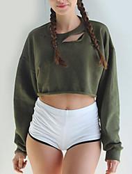Damen Solide Einfach Lässig/Alltäglich T-shirt,Rundhalsausschnitt Herbst / Winter Langarm Schwarz / Grün Baumwolle Mittel