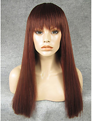 IMSTYLE20'' Beautiful Auburn Natural Straight Machine Wig Synthetic Heat Resistant Fiber With Bang