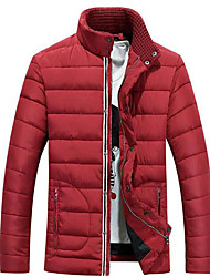 Men's Regular Padded Coat,Simple Casual/Daily Solid-Polyester Polypropylene Long Sleeve Stand Red / Black