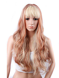 Long Wavy Hair Wig with Bangs White and Red Color Synthetic Wigs for Women