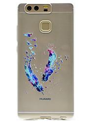 Pour Transparente Motif Coque Coque Arrière Coque Plume Flexible PUT pour HuaweiHuawei P9 Huawei P9 Lite Huawei P9 plus Huawei P8 Lite
