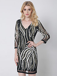 1287 Women's Party / Club Sexy Bodycon DressStriped V Neck Above Knee  Sleeve Black Cotton / Polyester