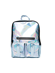 Casual Backpack Women Glitter Silver