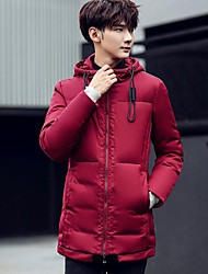Masculino Longo Casaco Capa,Simples Sólido Casual-Poliéster Sem Enchimento Manga Longa Azul / Vermelho / Preto