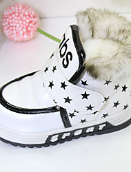 Girls' Baby Boots PU Casual White Ruby Blue Flat