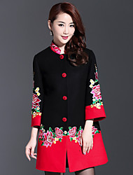 AINIER Women's Casual/Daily Chinoiserie CoatJacquard Stand Long Sleeve Spring / Fall Black Wool / Polyester