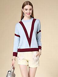 Damen Kurz Pullover-Lässig/Alltäglich Einfach Gestreift Blau Rundhalsausschnitt Langarm Baumwolle Herbst Dünn Mikro-elastisch