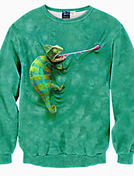 Holiday Simple / Active / Punk & Gothic Regular HoodiesAnimal Print Multi-color Round Neck Long Sleeve Polyester