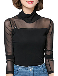 Spring Fall Women's Plus Size Go out Casual Patchwork Mesh Solid Color Turtleneck Long Sleeve Blouse