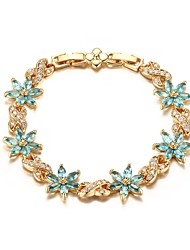 Women's Tennis Bracelet Jewelry Party/Birthday/Daily/Casual Fashion Zircon Brass Gold Plated White-Blue 1pc Gift