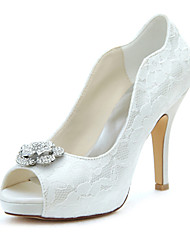 Women's Heels Spring / Fall Platform Stretch Satin Wedding / Party & Evening / Dress Stiletto Heel Crystal Ivory Others