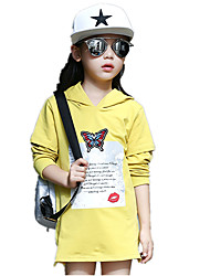 Girl's Casual/Daily Print Long Sleeve Loose Long Hoodie & Sweatshirt