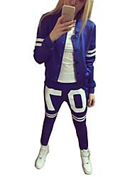 Women's Sports Vintage All Seasons Set Pant Suits,Color Block Round Neck Long Sleeve Blue Polyester Medium