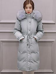 Пальто Простое Пуховик Для женщин,Однотонный На каждый день Полиэстер Пух белой утки,Длинный рукав