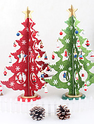 36CM Creative Wooden Christmas Tree Decorations Three-dimensional Model Desktop Ornament