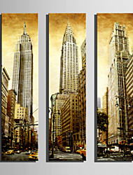 E-HOME® Stretched Canvas Art Tall Buildings In The City Orative Painting Set of 3
