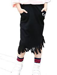 Girl's Solid Cartoon Eyes Print Tassel Asymmetrical Skirt