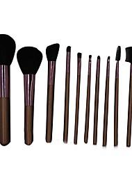 10 Makeup Brushes Set Horse Portable Wood Face NFSS