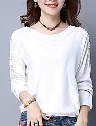 Damen Solide Street Schick Ausgehen / Lässig/Alltäglich T-shirt,Rundhalsausschnitt Herbst / Winter Langarm Weiß / Gelb Baumwolle / Leinen