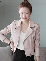Женский На каждый день Однотонный Кожаные курткиПростое Розовый / Черный Длинный рукав,Полиуретановая