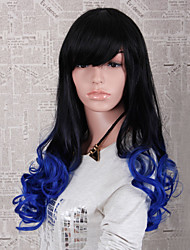 Fashion Style Long Wavy Ombre Black and Blue Color Synthetic Wigs for Women