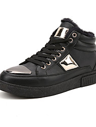Men's Sneakers Fall Winter Comfort Fabric Casual Flat Heel Lace-up Black Silver Black and Gold