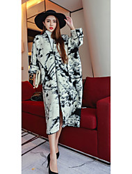 Women's Casual/Daily Simple CoatPrint Stand Long Sleeve Winter
