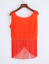 Women's Club Sexy Summer Blouse,Solid Round Neck Sleeveless Orange Rayon Thin