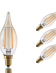 2W E12 LED Filament Bulbs B 2 COB 160 lm Amber Dimmable / Decorative 120V 4 pcs