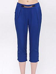 Pantalon Aux femmes Harem / Mince simple Polyester Micro-élastique