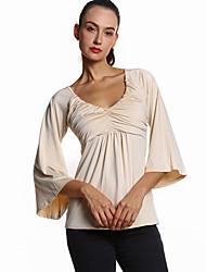 Damen Solide Einfach Ausgehen / Lässig/Alltäglich T-shirt,Tiefes V Frühling / Herbst ¾-Arm Beige / Schwarz Polyester Mittel
