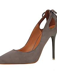 Черный / Розовый / Красный / Серый / Оранжевый / Хаки-Женский-Для праздника-Замша-На шпильке-Удобная обувь-Обувь на каблуках