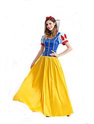 Fantasias de Cosplay Princesa / Conto de Fadas Cosplay de Filmes Azul Cor Única Vestido / Decoração de Cabelo Feminino Poliéster