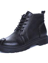 Mujer-Tacón Bajo-Confort-Botas-Vestido-PU-Negro / Marrón / Bermellón