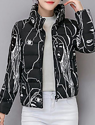 Women's Long  CoatSimple Going out / Casual/Daily Solid-Polyester White Goose Down Long Sleeve Hooded Pink / Red / White / Black