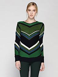 Mujer Regular Pullover Casual/Diario Simple,A Rayas / Bloques Verde Escote Redondo Manga Larga Lana / Acrílico Otoño / Invierno Grueso