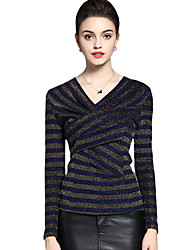 Spring Fall Women's Plus Size Go out Casual Slim Was Thin Striped V Neck Long Sleeve Blouse