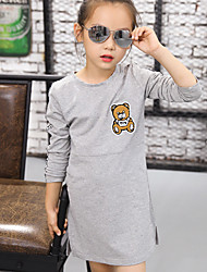 Girl's Casual/Daily Print TeeCotton Fall Pink / Gray