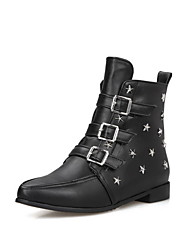 Women's Pointed Closed Toe Low Top Low Heels Studded Pu Boots