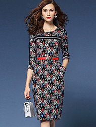 Women's Going out Sophisticated Sheath DressRainbow / Embroidered Round Neck Knee-length  Sleeve Multi-color Cotton