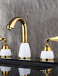 Contemporain Moderne Diffusion large large spary with  Soupape céramique Deux poignées trois trous for  Ti-PVD , Robinet lavabo